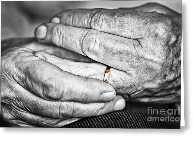 Grandmother Greeting Cards - Old hands with wedding band Greeting Card by Elena Elisseeva