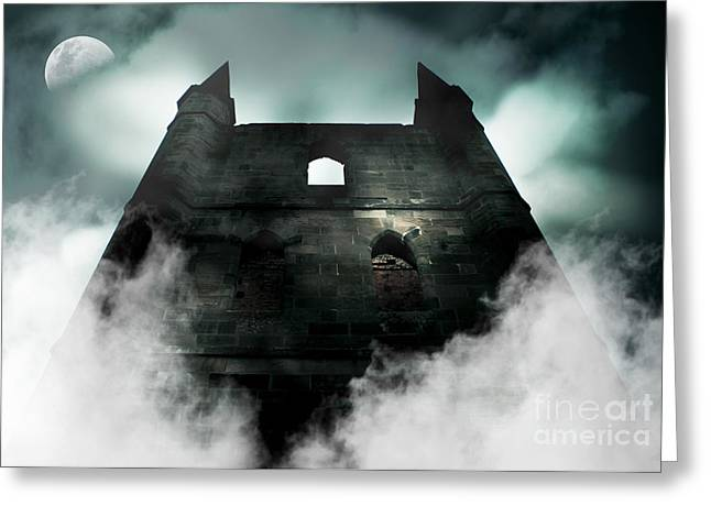 Frightening Castle Greeting Cards - Old Haunted Castle Greeting Card by Ryan Jorgensen