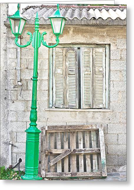 Weathered Shutters Greeting Cards - Old house Greeting Card by Tom Gowanlock