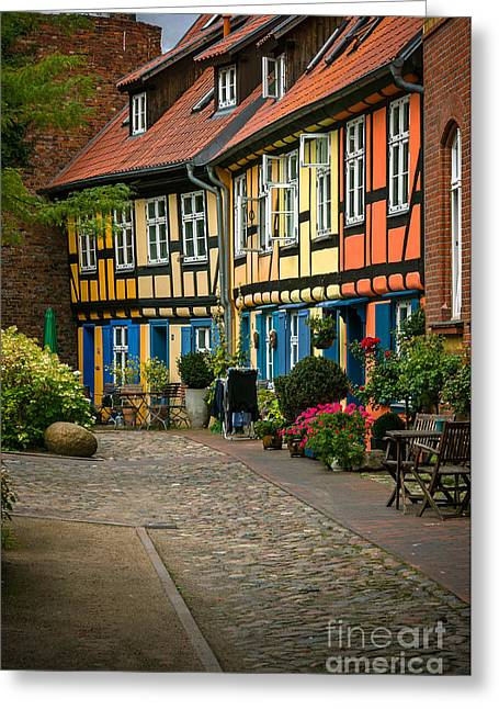 Kloster Greeting Cards - Old houses at Johannes Kloster Stralsund Greeting Card by David Davies