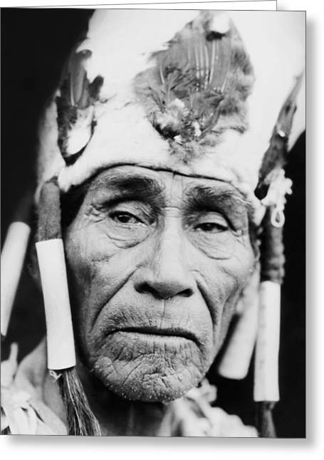 1923 Greeting Cards - Old Klamath Man circa 1923 Greeting Card by Aged Pixel