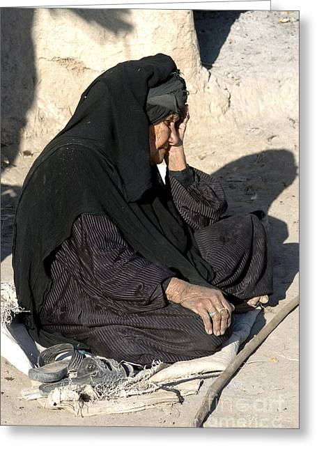 Iraq Greeting Cards - Old Lady In Stress During A Millitary Greeting Card by Andrew Chittock