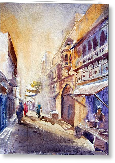 Watercolorist Greeting Cards - Old Lahore Greeting Card by M Kazmi