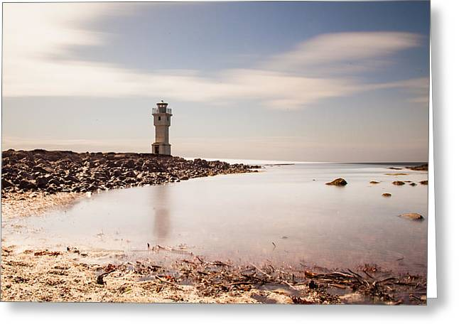 Exposure Pyrography Greeting Cards - Old lighthouse Greeting Card by Thorir Bjorgvinsson