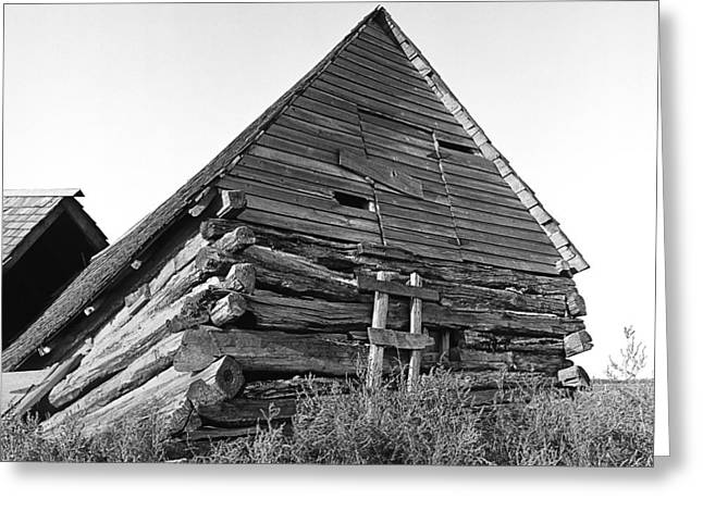 Old Relics Photographs Greeting Cards - Old Log Building on North Dakota Prairie Greeting Card by Donald  Erickson