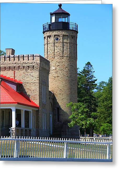 Mackinaw City Greeting Cards - Old Mackinac Point Light Greeting Card by Dan Sproul