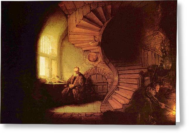 Storm Prints Paintings Greeting Cards - Old man at window Greeting Card by Rembrandt