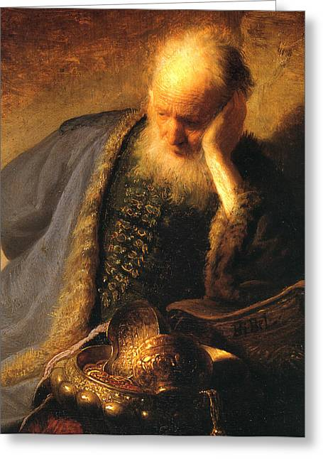 Storm Prints Paintings Greeting Cards - The Old Man Greeting Card by Rembrandt