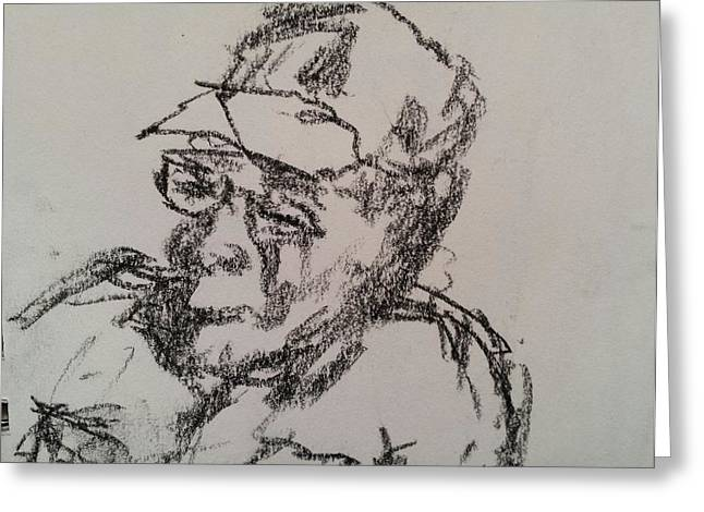 Senior Citizen Drawings Greeting Cards - Old Man Greeting Card by Steve Jorde