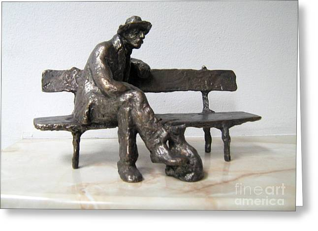 Dog Sculptures Greeting Cards - Old man with dog Greeting Card by Nikola Litchkov