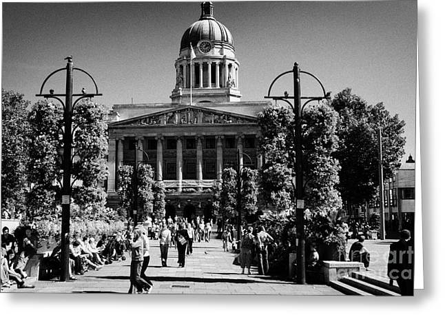 Nottingham Greeting Cards - Old Market Square Nottingham known as slab square with council house city hall soon to be square one Greeting Card by Joe Fox