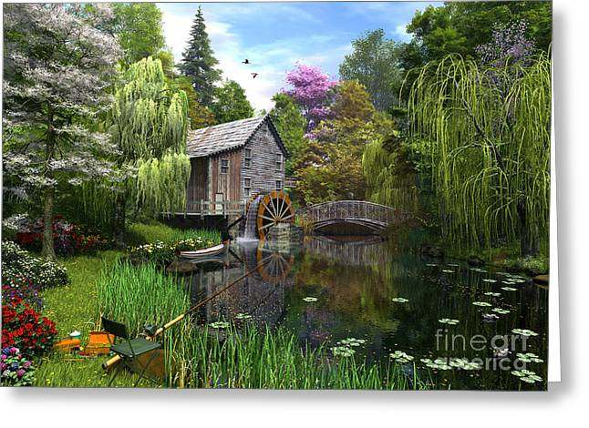 Stream Digital Art Greeting Cards - Old Mill Greeting Card by Dominic Davison