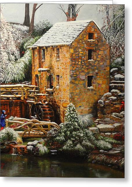 Arkansas Paintings Greeting Cards - Old Mill in Winter Greeting Card by Glenn Beasley