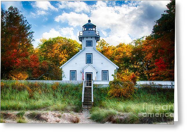 The Great Lakes Greeting Cards - Old Mission Lighthouse Greeting Card by Todd Bielby