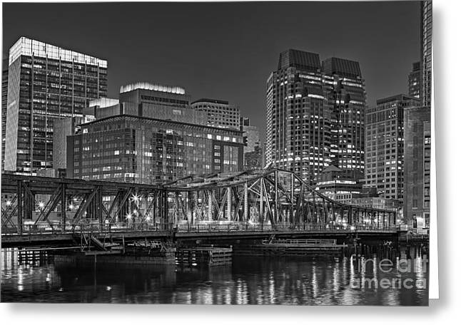 Cityscapes Greeting Cards - Old Northern Bridge Boston Harbor Greeting Card by Susan Candelario