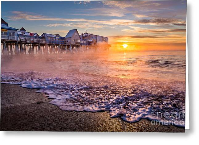 Old Orchard Beach Sea Smoke Greeting Card by Benjamin Williamson
