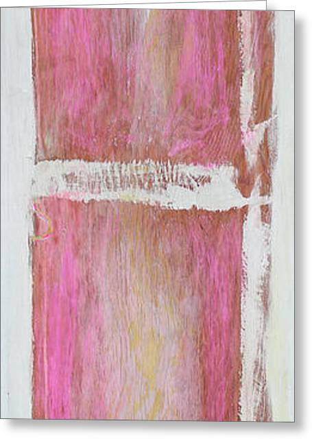 Art Prints Sculptures Greeting Cards - Old Pink Kitchen Door Emanating Light Greeting Card by Asha Carolyn Young