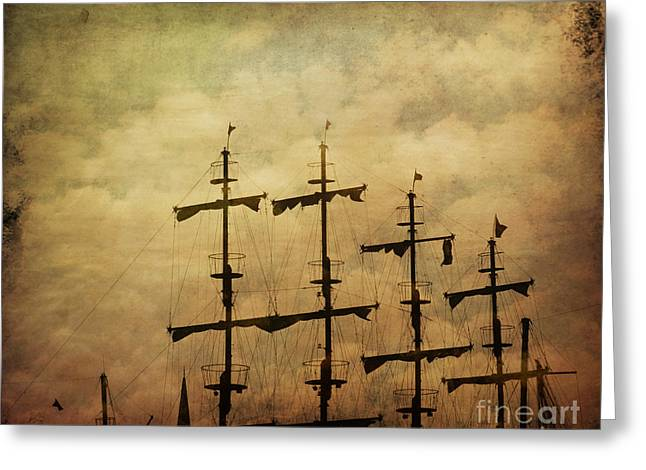 Water Vessels Pyrography Greeting Cards - Old pirate ship Greeting Card by Jelena Jovanovic
