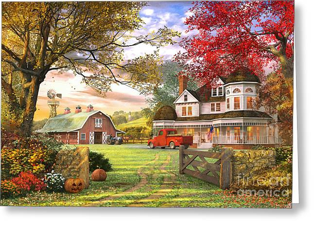 Autumnal Greeting Cards - Old Pumpkin Farm Greeting Card by Dominic Davison