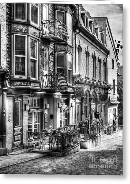 Quebec Restaurants Greeting Cards - Old Quebec City 15 Greeting Card by Mel Steinhauer