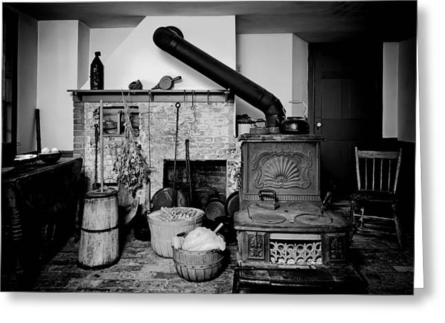Antique Wood Stove Greeting Cards - Old Ranch House Interior Greeting Card by Mountain Dreams