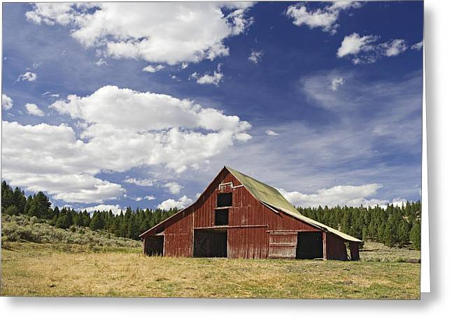 Old Barns Greeting Cards - Old Red Barn In Landscape Oregon Greeting Card by Konrad Wothe