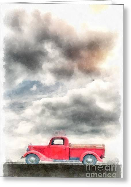 Beverly Greeting Cards - Old Red Ford Pickup Greeting Card by Edward Fielding