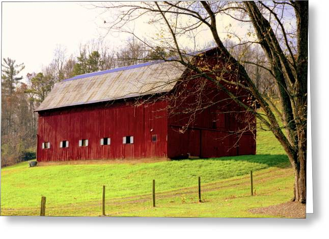 Dairy Barn Greeting Cards - Old Red Greeting Card by Karen Wiles