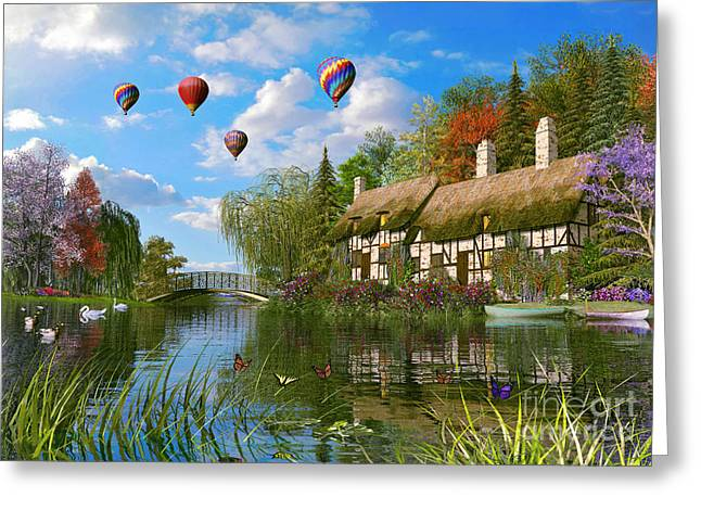Peaceful Pond Greeting Cards - Old River Cottage Greeting Card by Dominic Davison