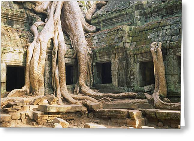 Asian Culture Greeting Cards - Old Ruins Of A Building, Angkor Wat Greeting Card by Panoramic Images