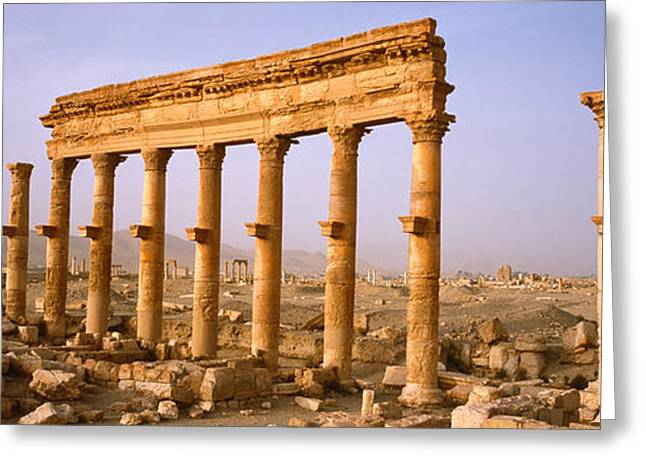 Civilization Greeting Cards - Old Ruins On A Landscape, Palmyra, Syria Greeting Card by Panoramic Images