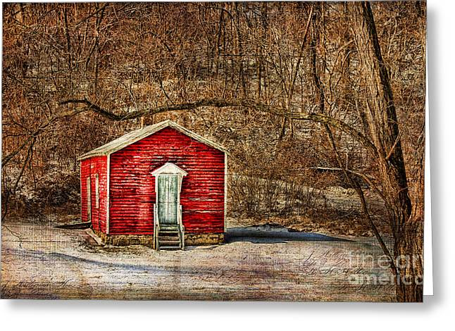 Red School House Greeting Cards - Old School House Greeting Card by Darren Fisher