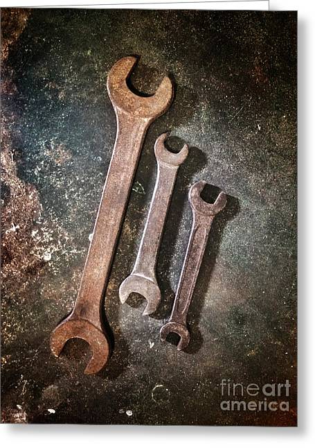 Ironwork Greeting Cards - Old Spanners Greeting Card by Carlos Caetano