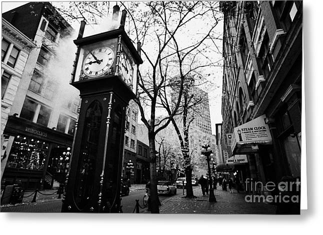 North Vancouver Greeting Cards - old steam powered clock on water street in the historic gastown district Vancouver BC Canada Greeting Card by Joe Fox