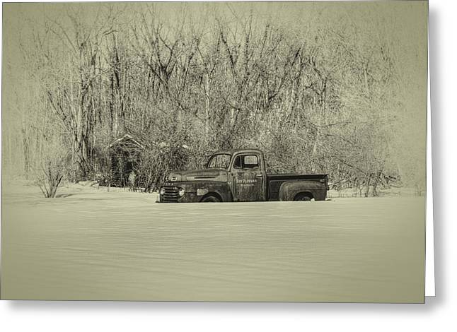 White Truck Greeting Cards - Old Timer Greeting Card by Thomas Young