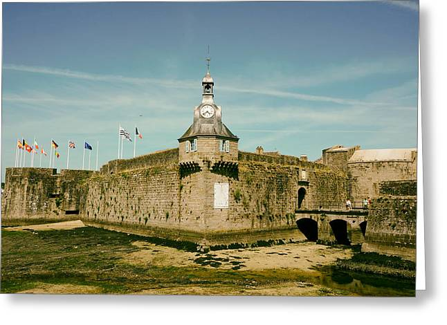Town Clock Tower Greeting Cards - Old Town of Concarneau Brittany Greeting Card by Mountain Dreams