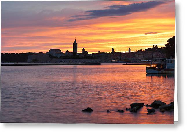 Adriatic Sea Greeting Cards - Old Town Of Rab Town At Sunset, Island Greeting Card by Panoramic Images