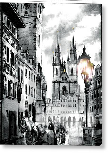 Sunset Prints Greeting Cards - Old town square Greeting Card by Dmitry Koptevskiy