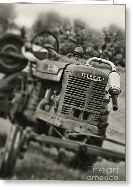 Tilt Shift Greeting Cards - Old Tractor Greeting Card by HD Connelly