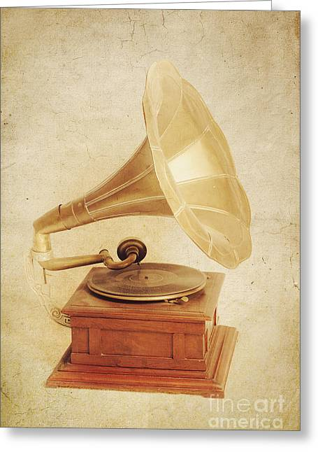 Old Vintage Gold Gramophone Photo. Classical Sound Greeting Card by Jorgo Photography - Wall Art Gallery