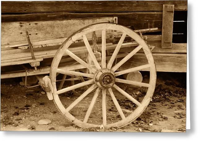 Wagon Wheels Greeting Cards - Old Wagon Wheel Greeting Card by Dan Sproul