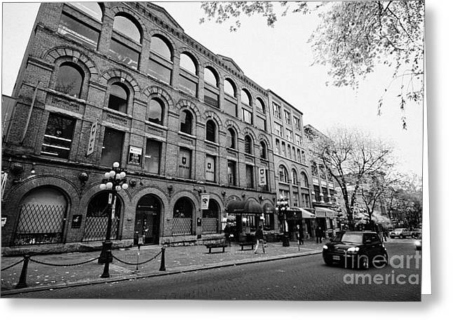 North Vancouver Greeting Cards - old warehouses and red brick buildings on historic water street in gastown Vancouver BC Canada Greeting Card by Joe Fox