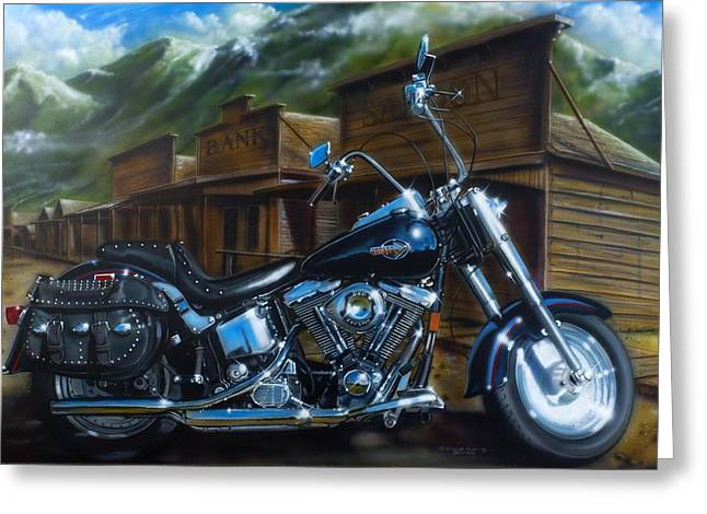 Motorcycles Greeting Cards - Old West Fat Boy Greeting Card by Tim  Scoggins