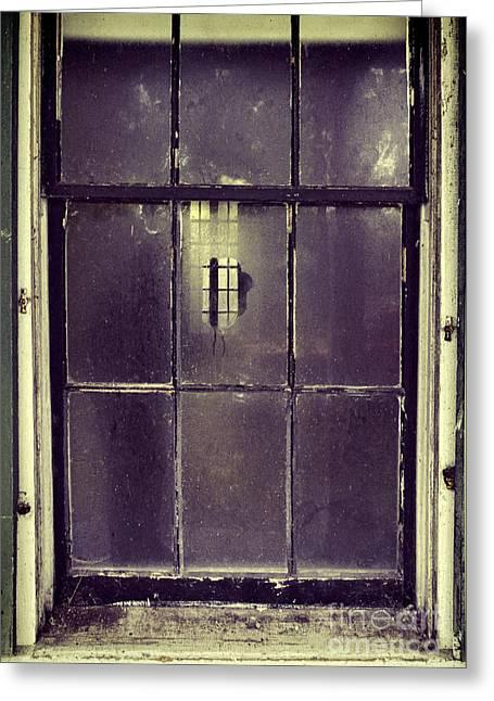 Clapboard House Greeting Cards - Old Window Greeting Card by Jill Battaglia