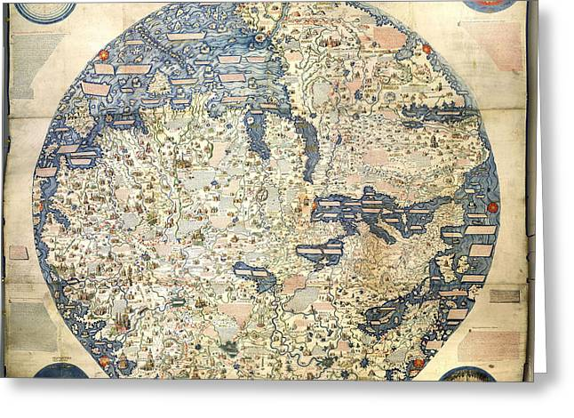 World Map Print Photographs Greeting Cards - Old World Vintage Map Greeting Card by Inspired Nature Photography By Shelley Myke