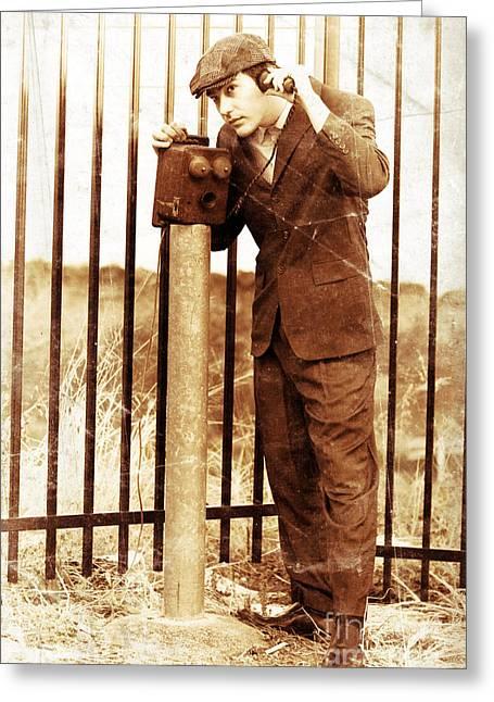 Verbal Greeting Cards - Olden Day Gentleman Communicating On Box Telephone Greeting Card by Ryan Jorgensen