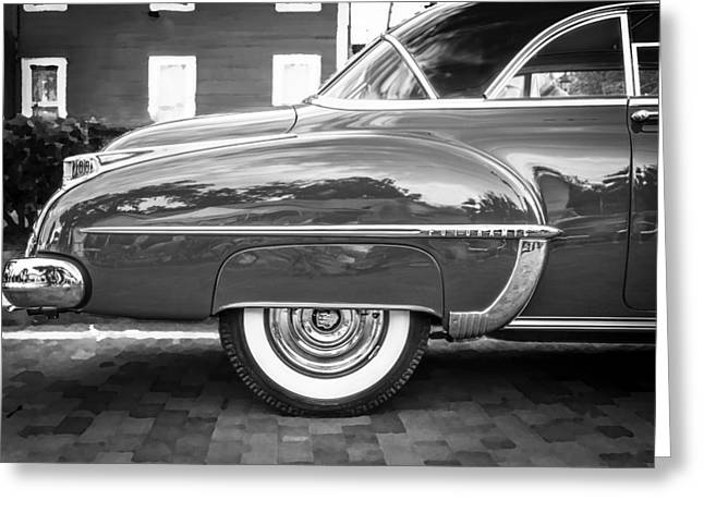Kustom Greeting Cards - Oldsmobile 88 Futurmatic Coupe BW  Greeting Card by Rich Franco