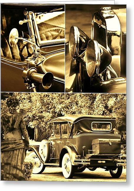 Weels Greeting Cards - Oldtimer collage Greeting Card by Werner Lehmann