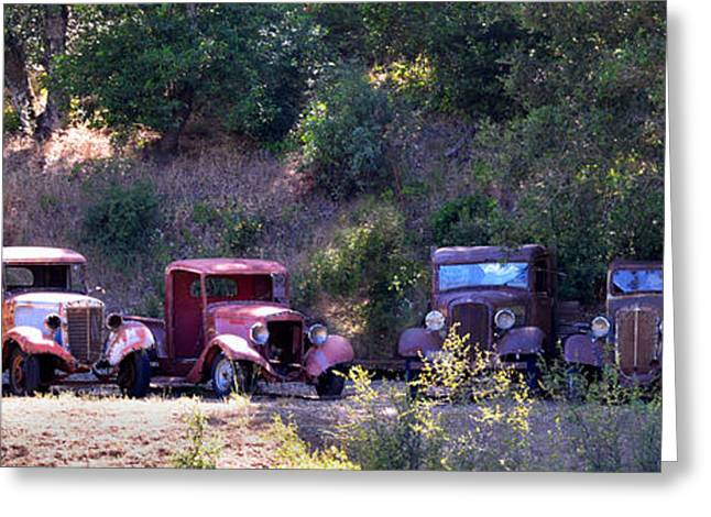 Rusted Cars Greeting Cards - Oldtimers Rendezvous Greeting Card by Lynn Bauer