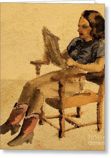 Seated Woman Greeting Card Greeting Cards - Olive Reading  1939 Greeting Card by Art By Tolpo Collection